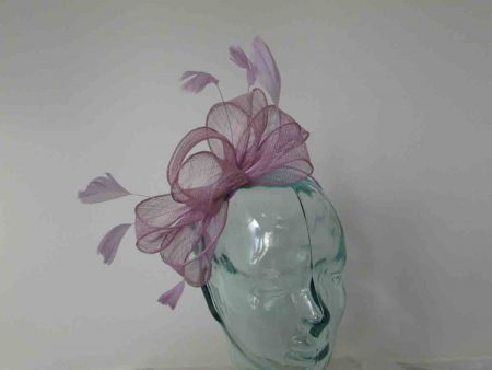 Looped sinamay fascinator in lilac