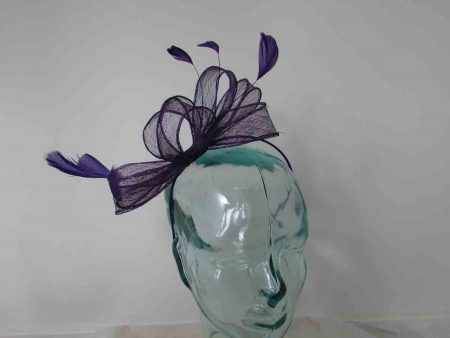 Looped sinamay fascinator in purple