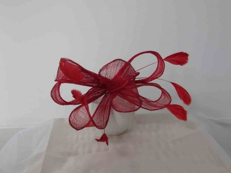 Looped sinamay fascinator in red