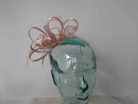 Looped satin fascinator is nude