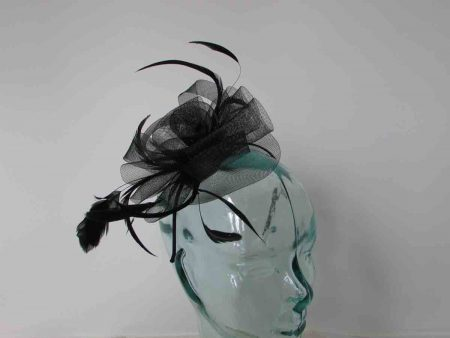 Crin flower fascinator in black