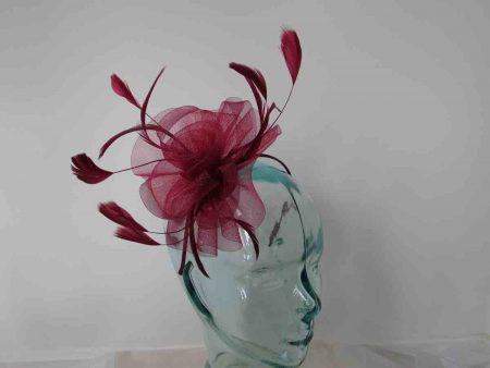 Crin flower fascinator in burgandy