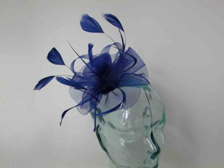 Crin flower fascinator in royal blue