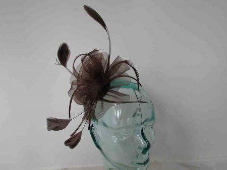 Crin flower fascinator in brown
