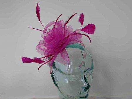 Crin flower fascinator in hot pink