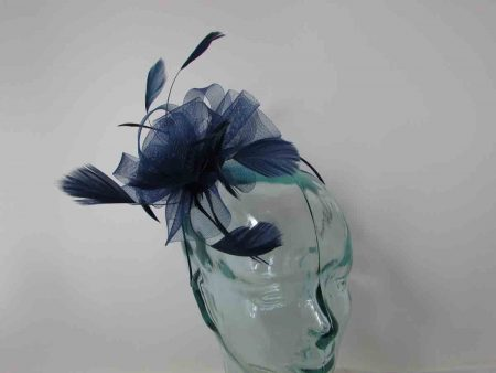 Crin flower fascinator in navy
