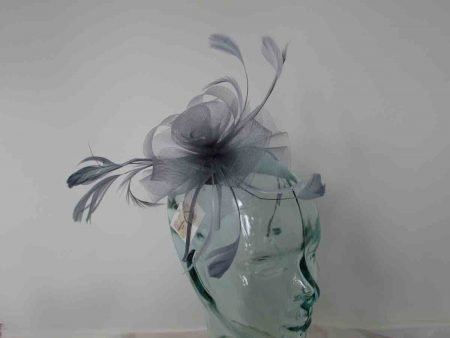 Crin flower fascinator in silver