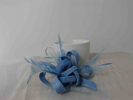 Sinamay fascinator with flower buds in light blue