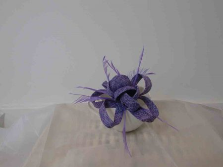Sinamay fascinator with flower buds in lilac