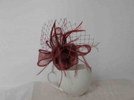 flower fascinator rusty brown