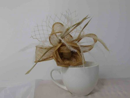 flower fascinator gold