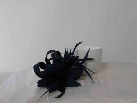 Sinamay fascinator in dark navy