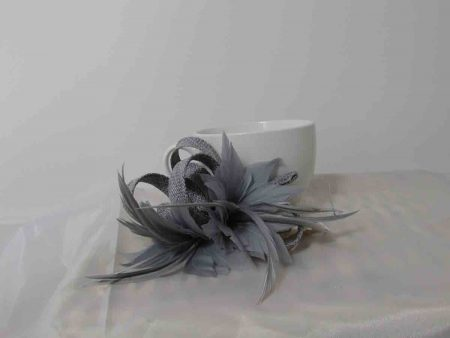 Sinamay fascinator in silver