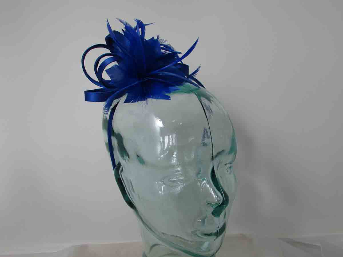 70408b38 Satin fascinator with feathers flower in royal blue. Home / Blues / Satin  fascinator with feathers flower in royal blue ...