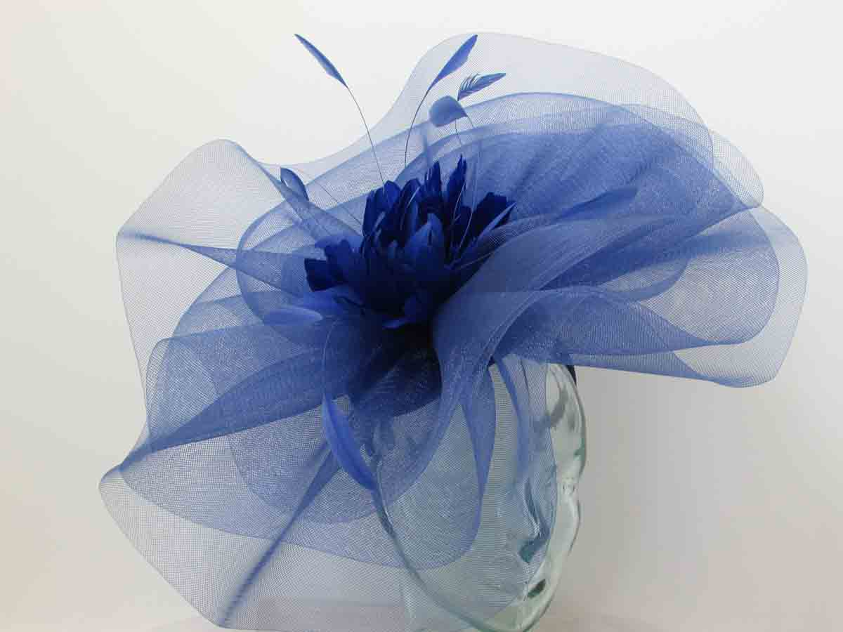 4f717f13 Large crin fascinator with feathered flower in cobalt blue. Home / Blues / Large  crin fascinator with feathered flower in cobalt blue ...