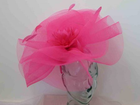 Large crin fascinator with feathered flower in hot pink