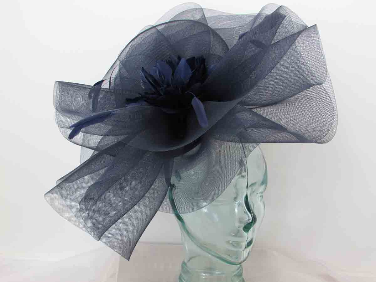 78c86e82 Product Description. Oval navy hatinator with orange crin flower £50.00. Large  crin fascinator with feathered flower in cobalt blue ...