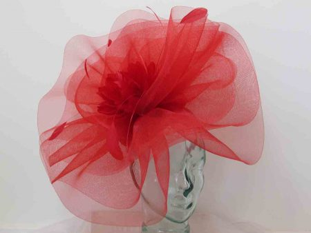 Large crin fascinator with feathered flower in red