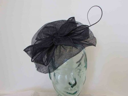 Sinamay fascinator in navy