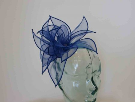 Chiffon fascinator in forget me not navy