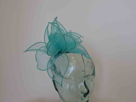 Chiffon fascinator in turqouise