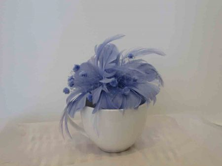 Feathered fascinator in sky blue