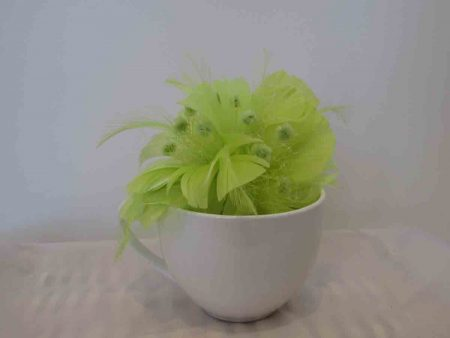 Feathered fascinator in zest green