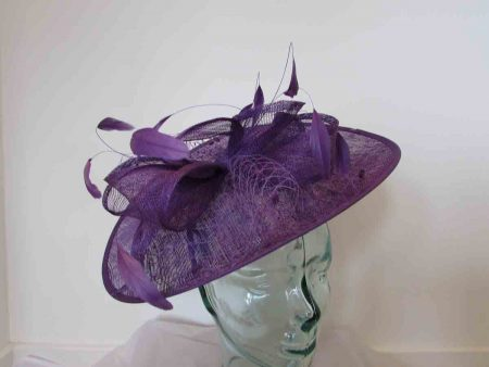 Sinamay hatintor with sinamay bow in majesty purple