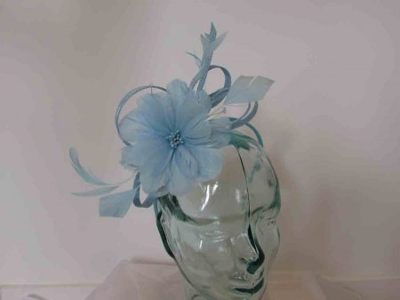 Feathered flower fascinator in baby blue