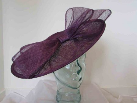 Large hatinator with bow in damson purple