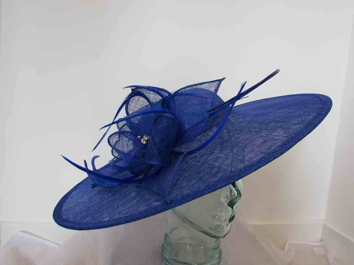 Large sinamay hatinator with diamante in cobalt blue - Love Fascinators 3d0e4891b13