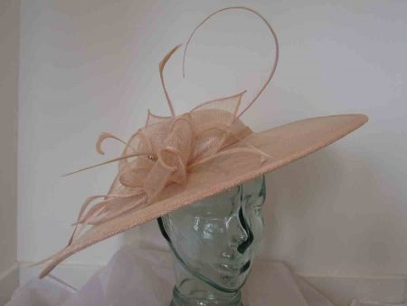 Large sinamay hatinator with diamante in oyster pink