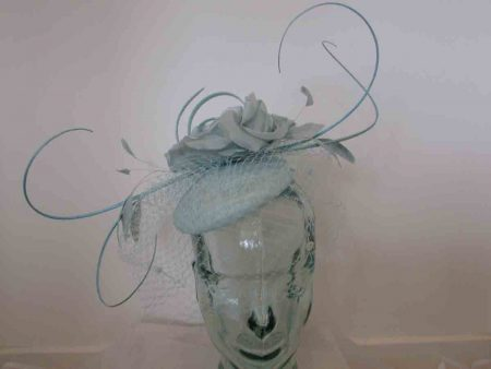 Rose pillbox with quills in duck egg blue