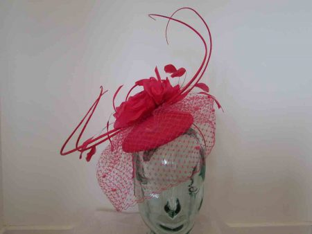 Rose pillbox with quills in fuchsia