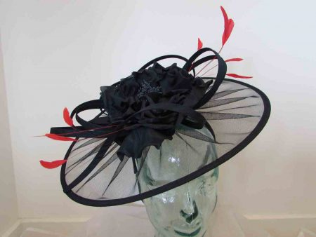 Net navy fascinator with large flower and red feathers