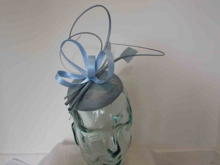 Pillbox fascinator with satin loops in air blue