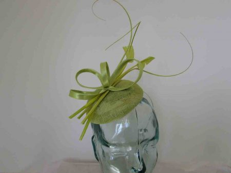 Pillbox fascinator with satin loops in lime