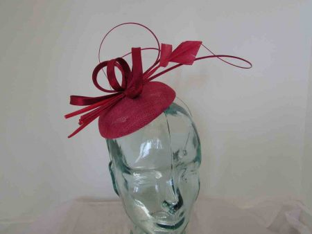 Pillbox fascinator with satin loops in samba pink