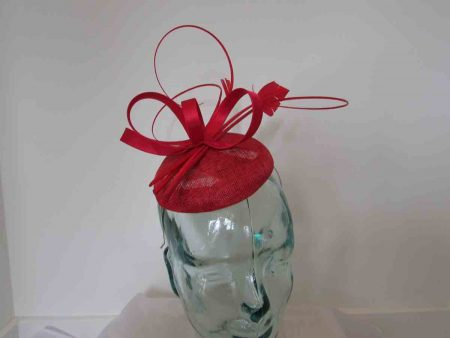 Pillbox fascinator with satin loops in tabasco red