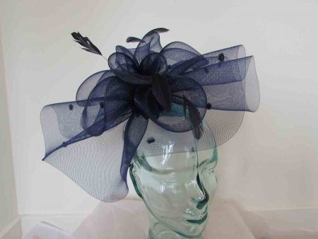 Crin spotted fascinator in navy
