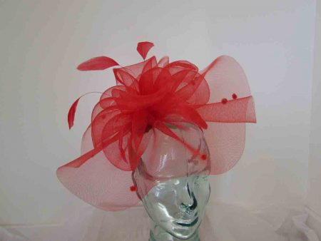 Crin spotted fascinator in tabasco red
