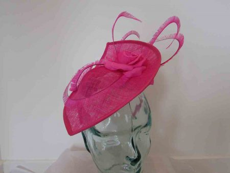 Leaf disc fascinator in fandango pink