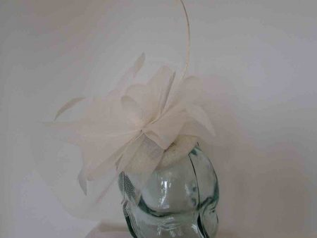 Pillbox fascinator with netting in ivory