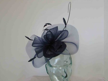 Pillbox fascinator with netting in navy