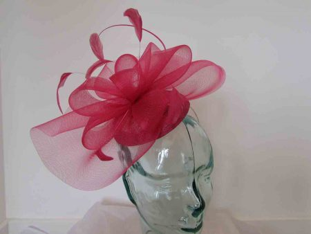 Pillbox fascinator with netting in samba pink