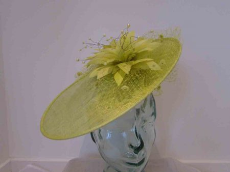 Large disc hatinator with feathered flowers in lime green