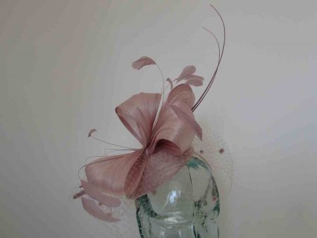 Pillbox fascinator with silk abaca bow in rose pink