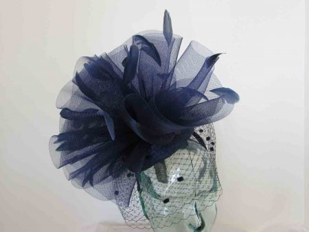 Dramatic pillbox with veiling in navy