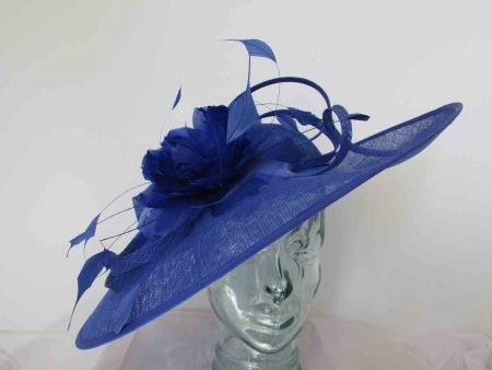 Sinamay hatinator with feathered flower in cobalt blue