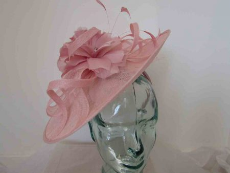 Sinamay hatinator with double feathered flower in chalk pink